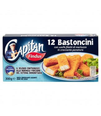 Capitan Findus 12 Bastoncini con 100% Filetti di Merluzzo in Croccante Panatura